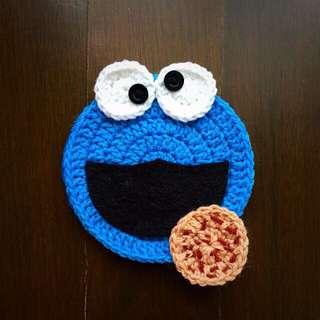 Cookie Monster crochet coaster