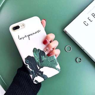 (PO) Minimalistic Plant Leaves Love You More Quote Soft Shell iPhone Casing
