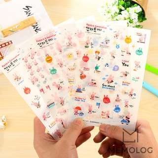 6pcs Pink Rabbit Generation Sticker Pack