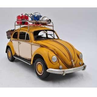 Replica Vintage 1934 Yellow VW Beetle Car 1:12 Scale Model