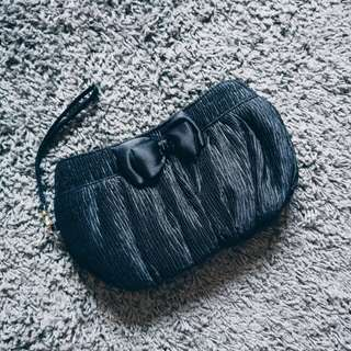 [BN] Naraya Black Silky Evening Clutch | Double Up Toiletry Make-up Pouch