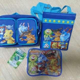 日本直送 數碼暴龍 系列 袋 一套3件