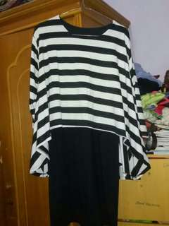 Dress belang (hitam putih)