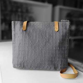 Authentic Hermes Grey Canvas With Leather Trim Messenger