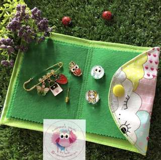Brooch keeper with free dangling Pin, 1 matching hijab pin and 2 baby brooches  and