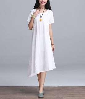 Asymmetrical Modern White Simple Midi Dress