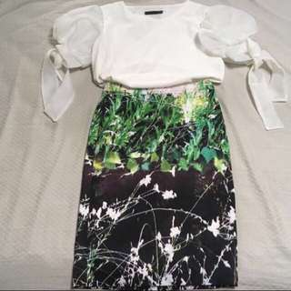 Bysi green floral pencil skirt