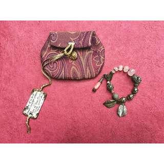 Vintage Rose Quartz Brass Bracelet