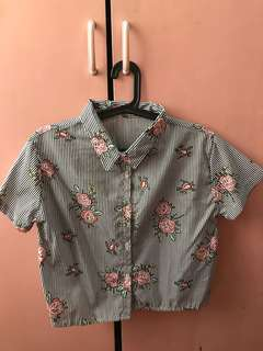 Cropped Floral Polo