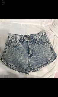 Acid Washed Denim Shorts