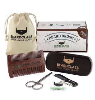 [IN-STOCK] BEARDCLASS Beard Brush and Comb - 13 Rows REINFORCED Bristle -100% Wooden Boar Brush Kit Set with Curve Contour for Maximum Grip - Bonus Items: Mustache Comb and Scissors Set - Beard Care Grooming Kit