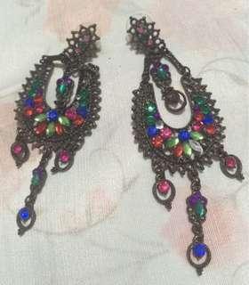 Gold gems indian style Long earrings