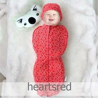 Infant Zip Swaddle HeartsRed