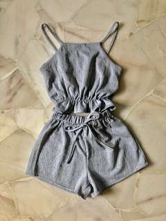 Two piece set in blue grey with Top, shorts, romper jumpsuit crop