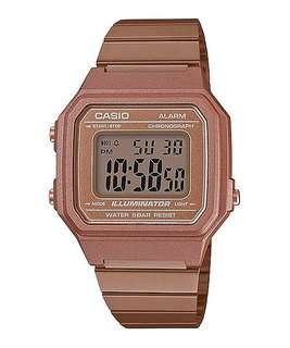 Guarranteed 100% authentic Casio watch or Full refund. Brand New Stock,Vintage Casio Rose Gold vintage stainless steel band,  50M water resistant, Cool Amber glow backlight illuminator Unisex Watch (1 available only ) b650wc-5a b650wc 5ADF B650wc