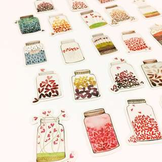 Set 12 : 23 pieces of jar of love stickers