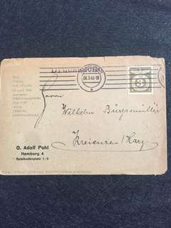 Germany Third Reich WW2 1943 Envelope w Nazi Emblem stamp, Hamburg to Kreiensen Harz