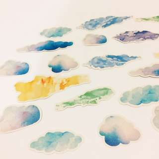 Set 13 : 20 pieces of watercolour cloud stickers