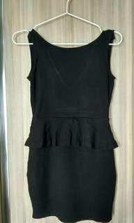 Zara Black Peplum Mini Dress