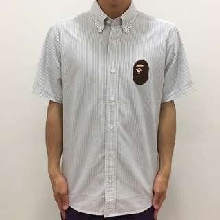 BAPE LARGE APE HEAD OXFORD STRIPE B/D S/S SHIRT