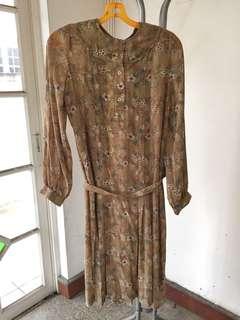Vintage Dress (Brown Floral)