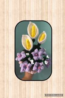 Crochet Calla lilies bouquet- with purple flowers
