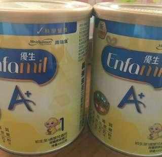 出售 美強生 優生A+奶粉 重量: 400g 初生至1歲嬰兒適用  售價:350元(全新未開封)