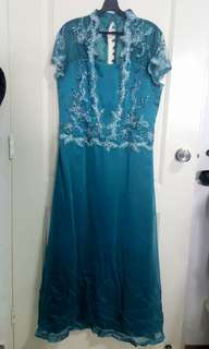 Large size wedding like dress with sequin (dark green)