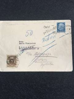 Germany Third Reich 1933 Envelope 4pf Hindenberg + 50 croszy Poland Postage Due, Berlin to Breslau Poland