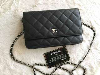 AUTHENTIC CHANEL WOC (WALLET ON CHAIN) - BLACK CAVIAR LEATHER