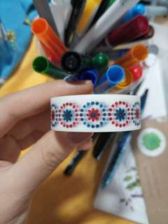 Red Blue flower patterened washi tape