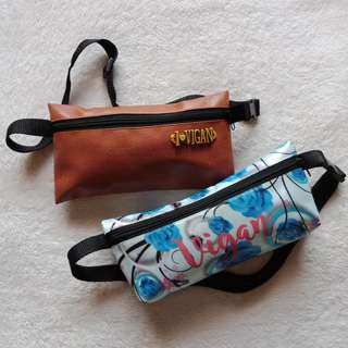 Lot of 2 Leather and Floral Souvenir Belt Bags