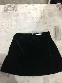 Lulu and rose black velvet mini skirt