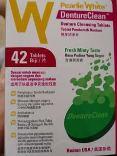 Pearlie white denture cleansing tablets