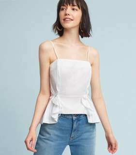 spaghetti-strap white TOP with tie-ruffles - In Stocks- sizes S,M,L