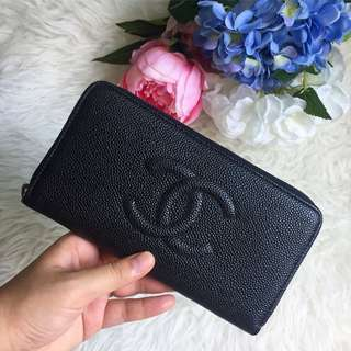 ❌SOLD❌ Chanel CC Timeless Zip Around Long Wallet in Black Caviar