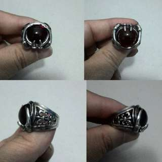 Cincin Red Stone Taring Stainless Steel