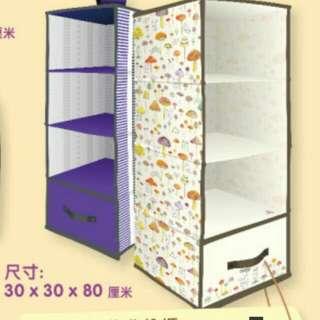 可掛式收納衣櫃:Mofy兔仔蘑菇圖案白色 / 沒圖案紫色 30x30x80cm 全新正版