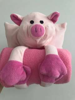 FREE SHIPPING: Mini Pig Pillow with Blanket