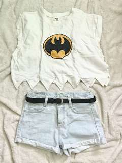 White Batman top and Light denim highwaist shorts