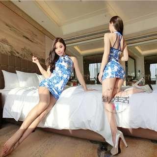 211 情趣內衣制服清新青花瓷旗袍性感短裙緊身包臀激情套裝