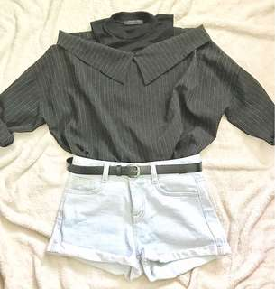 Black korean style off-shoulder and light denim highwaist shorts