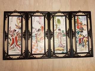 Set of 4 Chinese ceramic painting