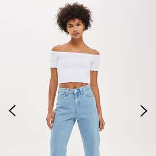 Topshop Shirred Crop Top