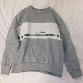 Grey Fleece Lined Jumper Pullover Sweater Top