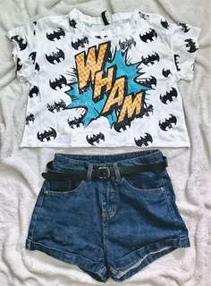 White Batman semi-crop top and Highwaist denim shorts