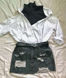 Korean style top and Tattered skirt