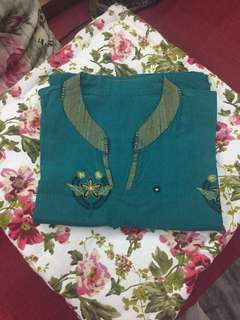 (BN) Promotion For This week-Bluish Green Pure Cotton Kurti