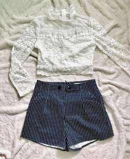 Vintage lace top and Stripes highwaist shorts