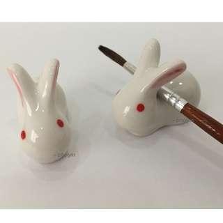 Pink Ears White Rabbit Brush Rest